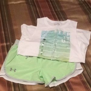 Under Armour Tank NWT and Shorts, Girls L